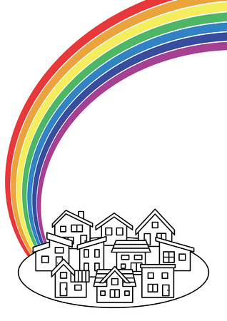 Simple residential area and rainbow-line drawing on white background