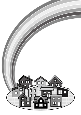 deform: simple residential area and rainbow-monochrome-