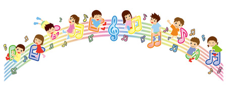 Musical score and Asian kids-arch version-