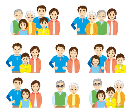 family unit: family stuctue-uppe half part of the body- Illustration