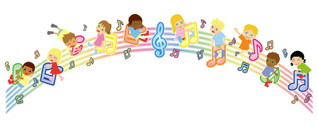musical score: Musical score and global kids-arch version- Illustration