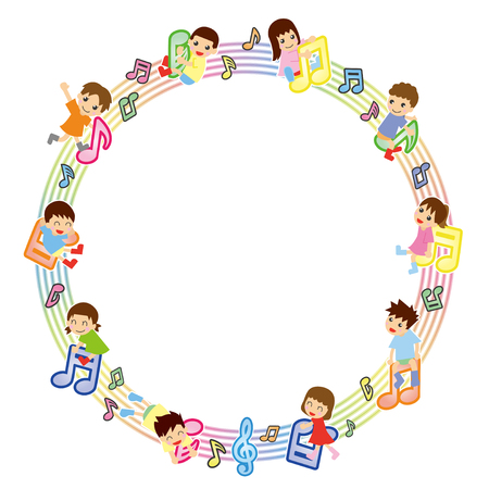 Musical score and Asian kids-circle version-