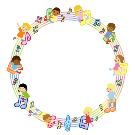 楽譜とグローバル子供サークル バージョン-  イラスト・ベクター素材