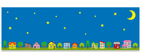 Row of a simple house and tree-lateral length and color-stars and moon Illustration