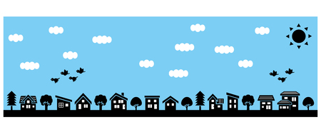 Row of a simple house and tree-lateral length and silhouette-sky and bird Illustration