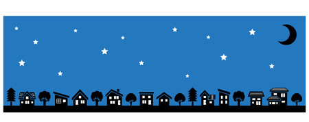 Row of a simple house and tree-lateral length and silhouette-stars and moon Ilustração