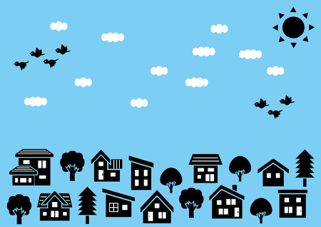 Row of a simple house and tree-silhouette-sky and bird