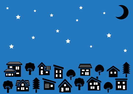 deform: Row of a simple house and tree-silhouette-stars and moon