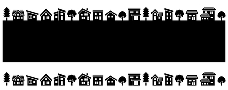 front house: simple house and tree-black silhouette-