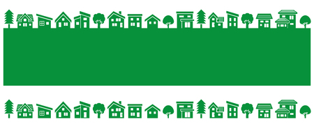 front house: simple house and tree-green silhouette-