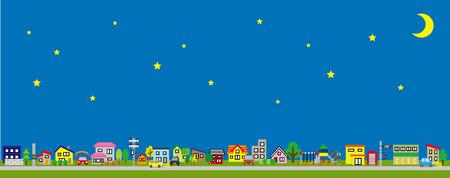 Reihe des Hauses der Wohngebiets-seitlichen Länge und der Farbsterne und des Mondes Vektorgrafik
