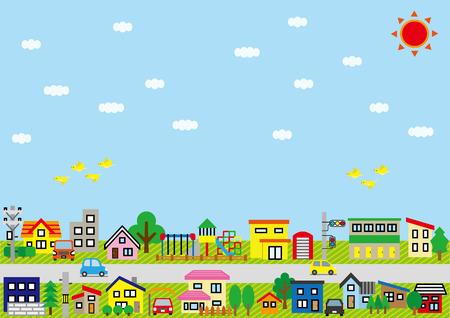 carport: Row of the house of the residential ureu-color-sky and bird