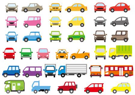 Eenvoudige auto van kleur-front en side-