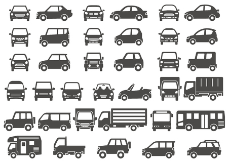 Gray silhouette of simple car-front and side-
