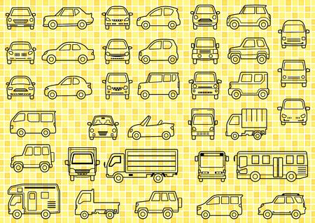 車の簡単なフロントとグリッドのバック グラウンドの側の線の描画