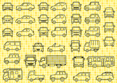line drawing of simple car-front and side-background of grid Vettoriali