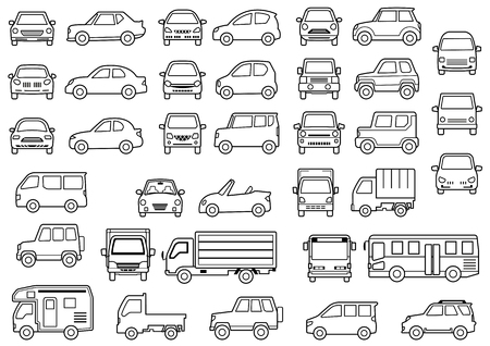 Line Drawing Of Simple Car Front And Side Stock Photo Picture And