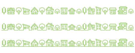 simple house and tree-line drawing-ecological image Ilustração