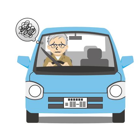 oude man bestuurder zich zorgen maken
