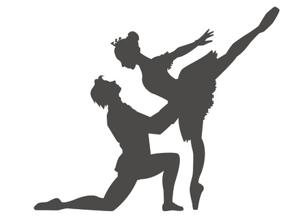 Pas de deux of ballet-sleeping beauty-silhouette