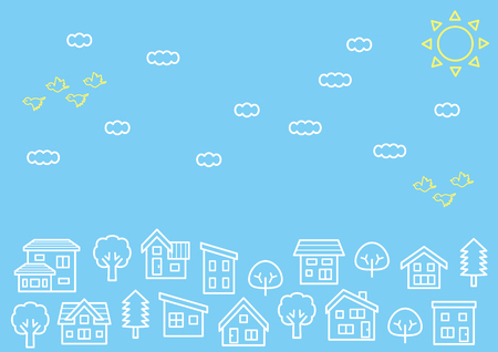 simple house and tree-line drawing-sky and bird
