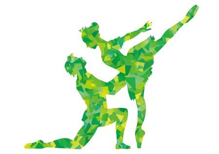 Pas de deux of Ballet-sleepig beauty-silcouette of green cellophane Illustration