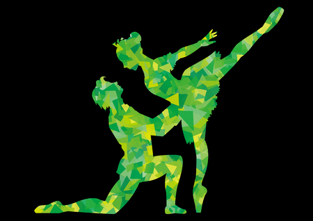 Pas de deux of ballet-sleeping beauty-silhouette of green cellophane (black background)