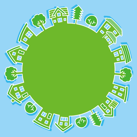 circle of simple house and tree-line drawing-ecological image Ilustração