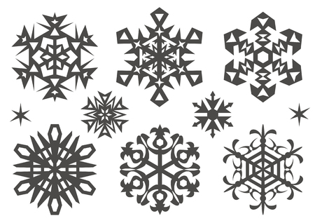 silhouette of snowy crystals vector illustration.