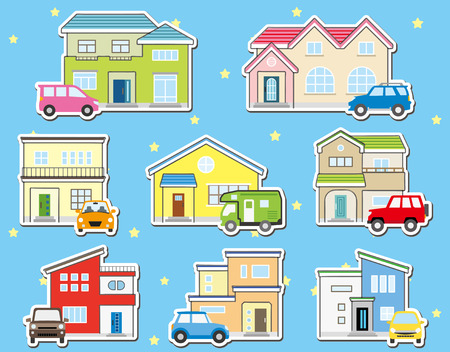 collar stickers of solitary houses and car - on the starlit sky - Western style and modern design