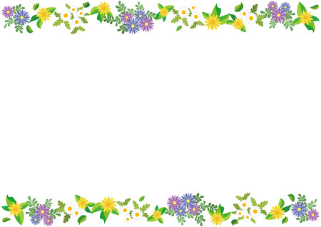 straight frame of flowers (African-daisy and Gold-medallion-flower and Mini-marguerite) Illustration