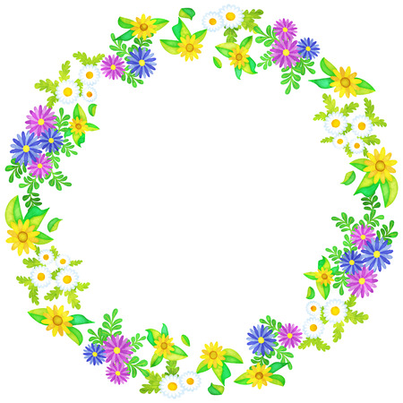 circle frame of flowers like a watercolor painting (African-daisy and Gold-medallion-flower and Mini-marguerite) Çizim