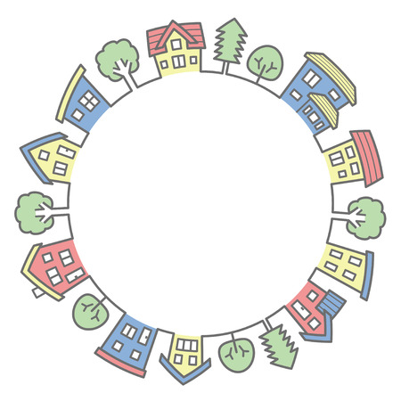 circle of houses and trees-line drawing and color-