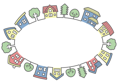 an ellipse of houses and trees-line drawing and color-