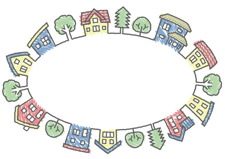 an ellipse of houses and trees-rough line and scribble color-