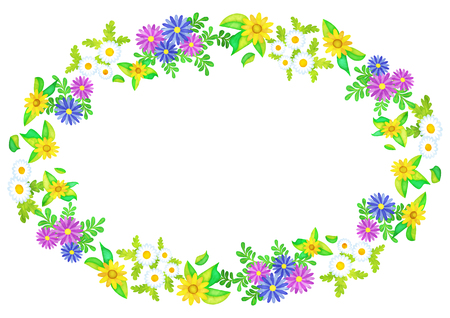 ellipse frame of flowers like a watercolor painting (African-daisy and Gold-medallion-flower and Mini-marguerite) Illustration