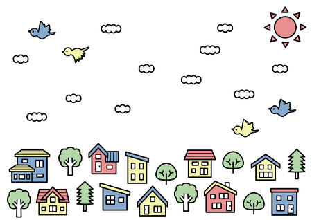 simple house and tree - line drawing and color - sky and bird 向量圖像