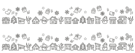 a row of houses and trees-only rough line drawing-Christmas version