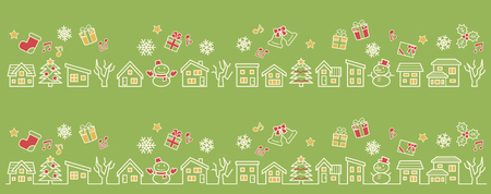 a row of houses and trees - line drawing and color - four colors Christmas version of green background Ilustração