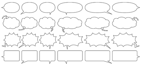 comic speech bubbles for write horizontally  - only line drawing -