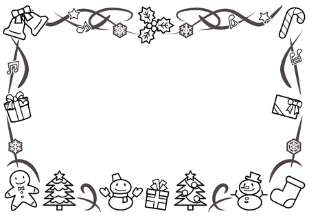 rectangle frame of Christmas objects - horizontal version - line drawing