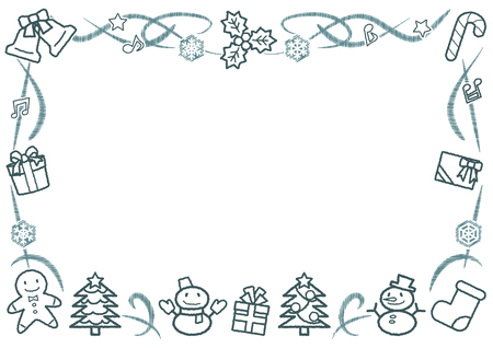 rectangle frame of Christmas objects - horizontal version - rough line drawing