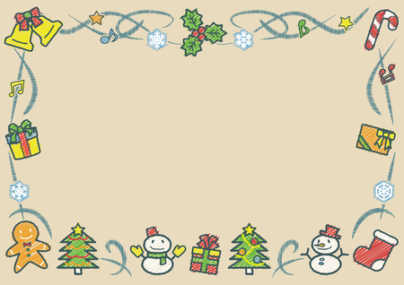 rectangle frame of Christmas objects - horizontal version - rough line drawing and scribble color