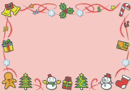 rectangle frame of Christmas objects - horizontal version - rough line drawing and scribble color plus shadow Ilustrace