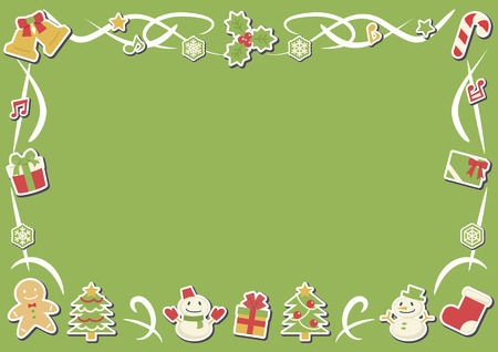 rectangle frame of Christmas objects - horizontal version - stickers plus shadow