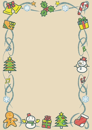 rectangle frame of Christmas objects - vertical khaki background version - rough line drawing and scribble color