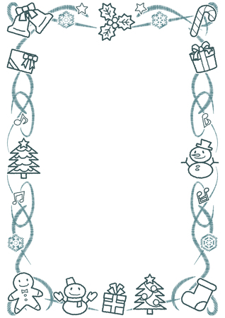 rectangle frame of Christmas objects - vertical version - rough line drawing