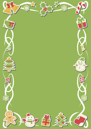 rectangle frame of Christmas objects - vertical version - stickers plus shadow