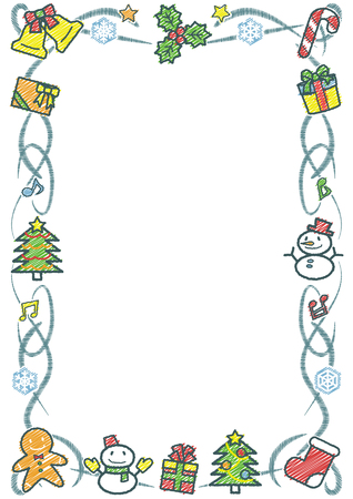 rectangle frame of Christmas objects - vertical white background version - rough line drawing and scribble color