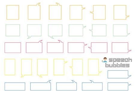 variety speech bubbles of angular rectangle - only line drawing - Illusztráció